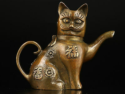 Asian Superb Collectible Old Handmade Casting Brass Cat Statues Teapot