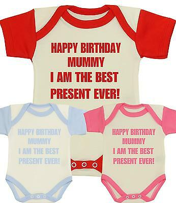 BabyPrem Baby Clothes HAPPY BIRTHDAY MUMMY Mum Bodysuit One-Piece Vest Gifts