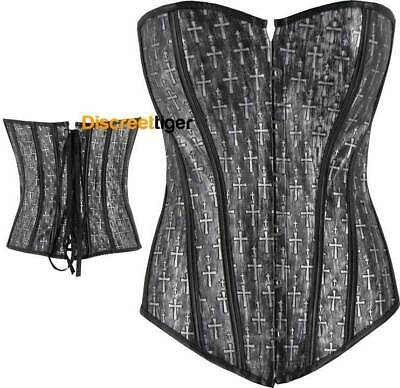 Gothic Corset Top Crucifix Crosses Grey Black Trim Faux Leather Size 6 to 16