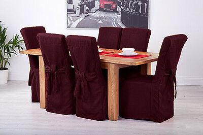 Set of 6 Plum Linen Fabric Dining Chair Covers for Scroll Top High Back Leather