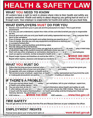 Health And & Safety Hse Law 2016 Workplace A4 Poster Laminated 250 Micron