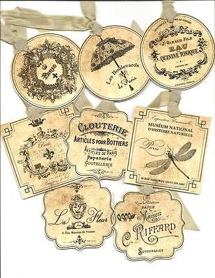 ~Paris Antique~ Hang Tags Set of 12 Vintage inspired Gift Tags