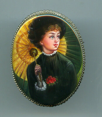 "Russian Lacquer brooch.""Portrait Summer."" Hand Painted"