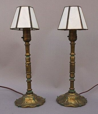 Pair 1920s Small Brass Table Lamp Antique Light Vintage Spanish Revival (8911)