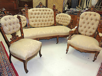 19th Century Renaissance Revival Parlor Suite arm side chair sofa settee 4/piece