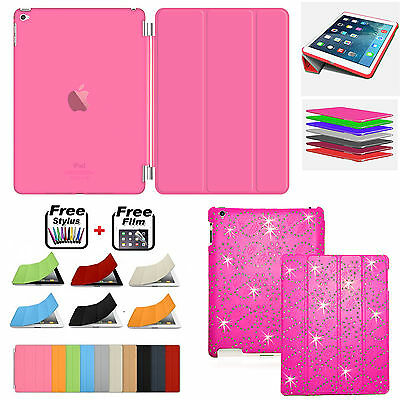 BLING Leather Magnetic Smart Case+Hard Back Cover FOR APPLE iPad MINI 1 2 3 4