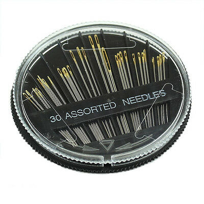 30PCS Assorted Hand Sewing Needles Embroidery Mending Craft Quilt Sew Case AD