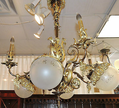 19th Century French Gilt Bronze Chandelier, One-of-a-Kind 8 light fixture, glass