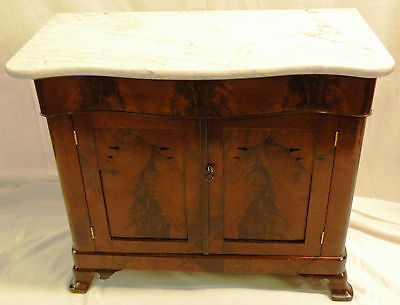 19th English Victorian Washstand/Night Table flame mahogany veneer Empire marble