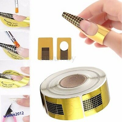 Gold Nail Art Form Sticker Self-adhesive Extension Guide Acrylic Tips UV Gel