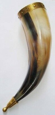 (10.01) Viking Drinking horn Mug Cup brass adorned Beer mead wine ale pagan