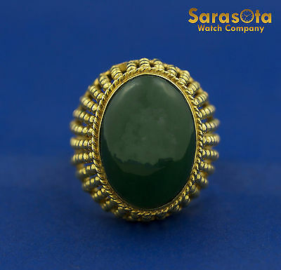 18K Yellow Gold Oval Jade Bead Style Solitaire Women's Ring Size 7.5