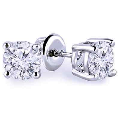 2 Ct Round Cut Solitaire Stud Earrings Solid 14K White Gold Screw Back Basket