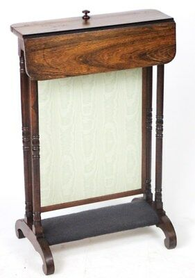 Antique Regency Rosewood Fire Screen with Folding Shelf c1820 - FREE P&P [1911]
