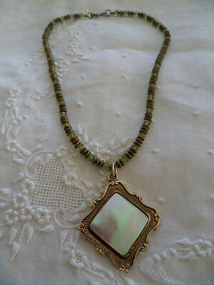 Vintage Mop Pearl Shell Gold Pendant With Green Glass Bead Necklace
