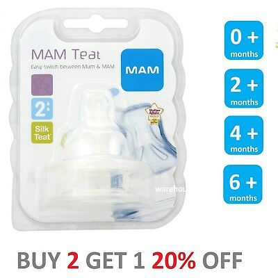 MAM FAST Flow Teats 3 hols Orthodontic for Bottles Silk Teat BPA FREE All Sizes