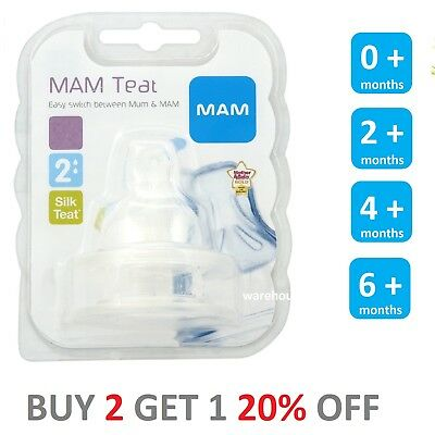 MAM Fast, Med, Slow, X Flow Teats Orthodontic for Bottles Silk Teat Pack of 2
