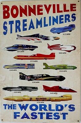 BONNEVILLE STREAMLINERS THE WORLDS FASTEST Auto Memorabilia Metal tin Sign