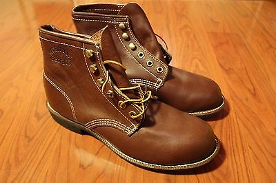 Vintage 90s Georgia Steel Toe Work Boots Leather Handsewn Made In USA Mens Sz 7