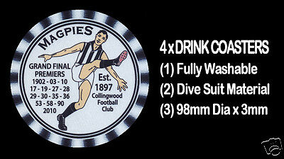 4 x MAGPIES COLLINGWOOD PREMIERS WITH YEARS WON  AUSSIE RULES DRINK COASTERS