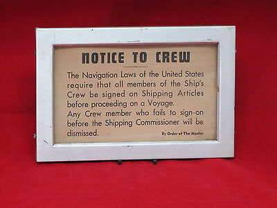 SS UNITED STATES Crew Sign w/ Original Aluminum Frame -NAUTIQUES sHiPs WORLDWIDE