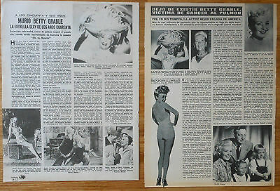 BETTY GRABLE 1973 death spanish clippings photos vintage magazine actress