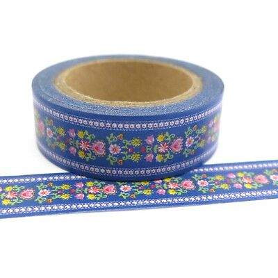 Washi Tape Blue Floral Pattern 15mm x 10m