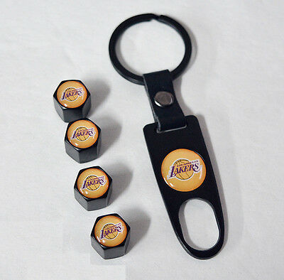 Black CAR Wheel Tyre Tire Valves Dust Stems Air Caps Keychain With Lakers Emblem
