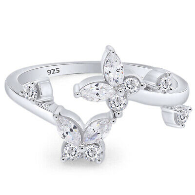 925 Sterling Silver Toe Ring Butterfly Clear Cubic Zirconia Size Adjustable