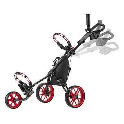 CaddyTek SuperLite v3 Deluxe 3 Wheel Golf Buggy / Push Cart - Red