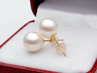 Solid 18K 18ct Gold Genuine Perfect Round White Freshwater Pearl Earring Studs