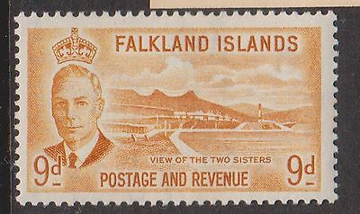 (OK-195) 1952 Falkland Islands 9d yellow view of the 2sisters MH