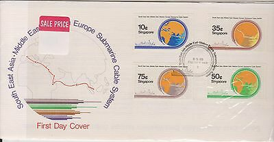 (OK-157) 1986 Singapore FDC 4stamps Europe submarine cable system