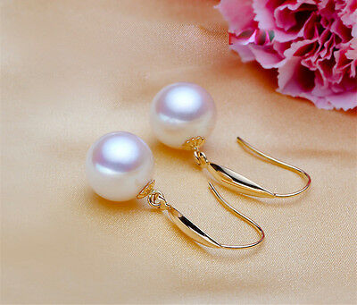 Solid 18K Gold Genuine 9-10mm Perfect Round White Freshwater Drop Pearl Earrings