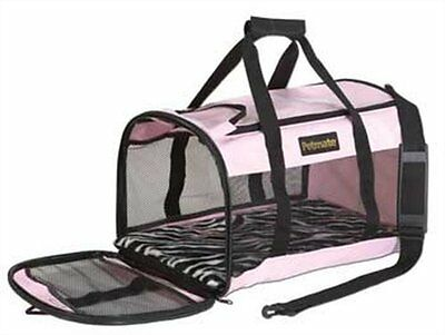Petmate Softsided Kennel Cab Dog Carrier Size:Large Color:Pink/Zebra Easy carry.