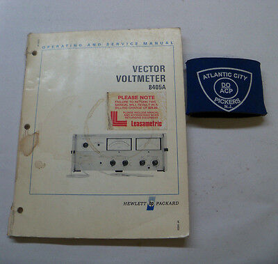 Hewlett Packard 8405A Vector Voltmeter Operating & Service Manual 08405-90024
