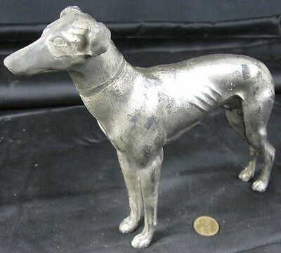 "Antique Silverplated Cast Metal Greyhound Whippet Dog Figurine 6 1/2"" Tall"