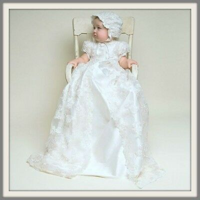 Vintage Lace - Girls Christening Baptism Dress-  Bonnet-Long Gown - Ivory White
