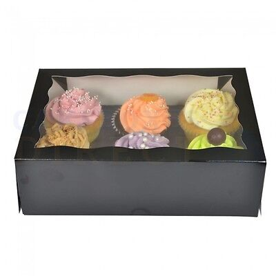 50 x 6 PREMIUM BLACK CUPCAKE BOX FREE NEXT DAY DELIVERY * ORDERED B4 1PM
