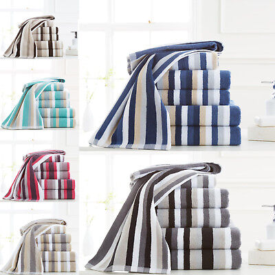 Egyptian Cotton Towels Set 600 GSM Bale Bath Sheet Hand Large Luxury Stripe New