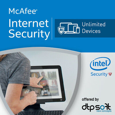 McAfee Internet Security Unlimited 2019 1 Year MAC,Win,Android 2018 UK