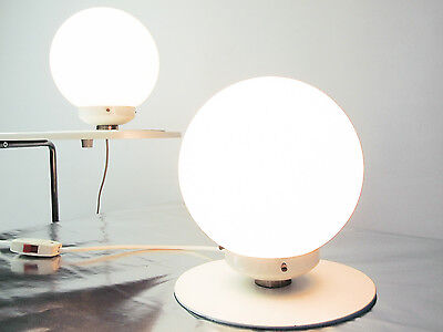 Pair luxury space age side/bed/desk lamps 60/70 white glass ball shape!