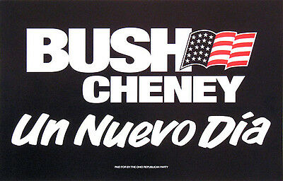 Official 2000 Bush Cheney Campaign Rally Sign / Poster ~ Hispanic Support (2300)