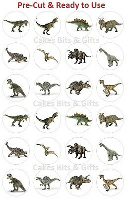 24 x DINOSAUR Mix Edible Wafer Cupcake Toppers, Pre Cut & Ready to Use.
