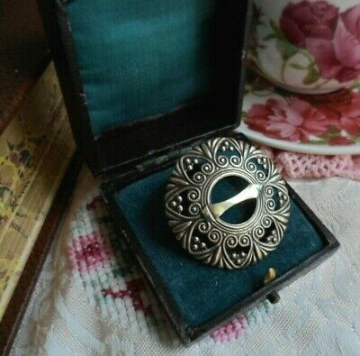 Vintage Jewellery Metal Brooch Pin Antique Victorian Dress Shoe Buckle Design
