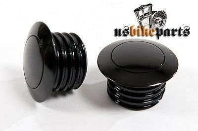 2 piece pop-up gas fuel caps black pair for Harley Davidson from 1982 custom new