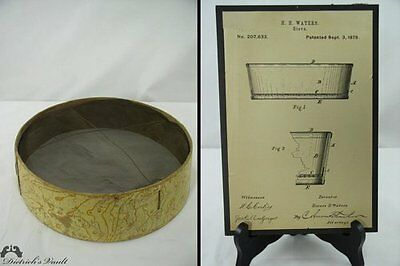 Antique Patent Model Sieve and 1878 Records
