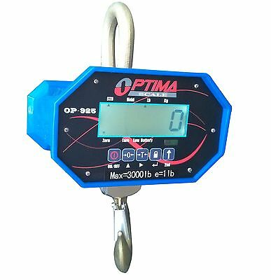 6,000 LBS x 1 LB Optima Hanging Digital LCD Crane Scale With Battery & Remote