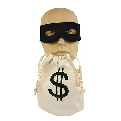 Bandit Bank Robber Mask And Money Bag 2 PC Costume Kit