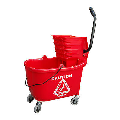 SunnyCare® 35qt Mop Bucket with Wringer: Side Press -Plastic -RED -NEW